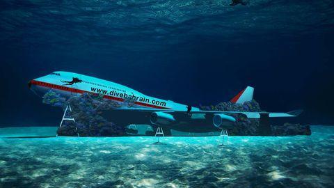 Eine Fotomontage des Projektentwurfs: Es zeigt damals eine Boeing 747 mit stark verlängertem Oberdeck