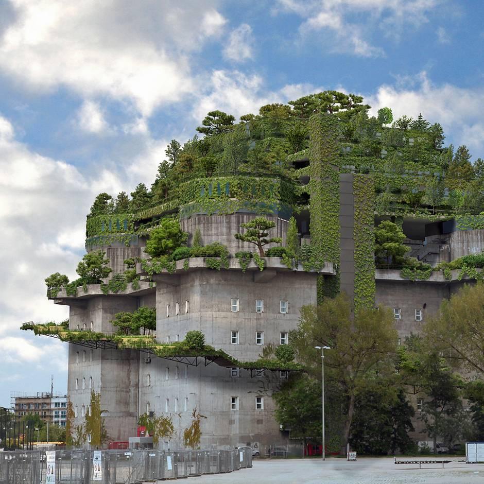 Spektakuläres Bauprojekt: Hamburgs Hochbunker wird begrünt und bald von einem Hotel gekrönt