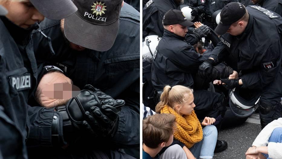 Polizeieinsatz am Rande der Klimaproteste in Hamburg