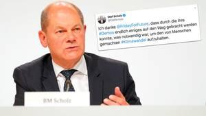 Olaf Scholz sorgt mit Klima-Tweet für Verwunderung