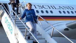 Bundeskanzlerin Angela Merkelkommt auf dem John F. Kennedy Flughafen an