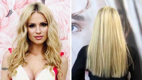 Michelle Hunziker ist bekannt für ihre langen blonden Haare und dem Mittelscheitel.