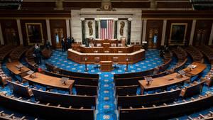 Die neuen und alten Mitglieder des US-Repräsentantenhauses kommen im Kapitol zusammen