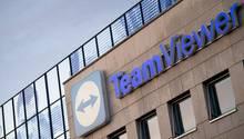 Das Logo des Tech-Konzerns Teamviewer am Hauptsitz