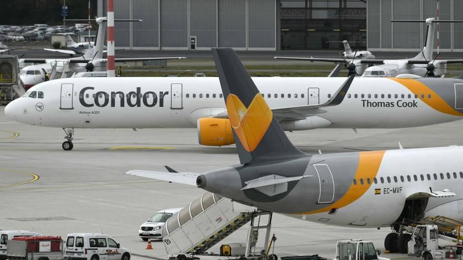 Können weiterhin abheben: Flugzeuge der Condor am Flughafen Düsseldorf