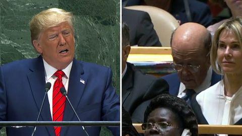 Bei der UN-Vollversammlung in New York kann US-Handelsminister Wilbur Ross die Augen kaum aufhalten.