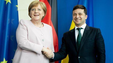 Bundeskanzlerin Angela Merkel (CDU) und Wolodymyr Selensky, Präsident der Ukraine