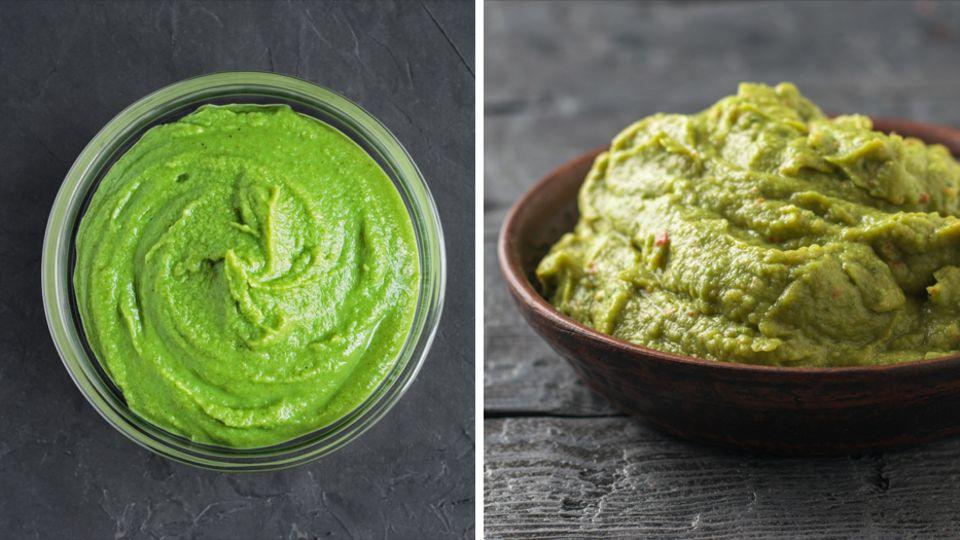 Beides ist zumindest grün: Wasabi (links) und Avocado als Guacamole