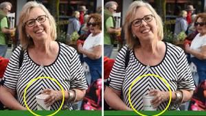 Die Bilder zeigen Kanadas Grünen-Politikerin Elizabeth May mit Papp- und mit Plastikbecher
