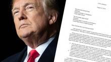 US-Präsident Donald Trump und ein Auszug aus dem Whistleblower-Bericht