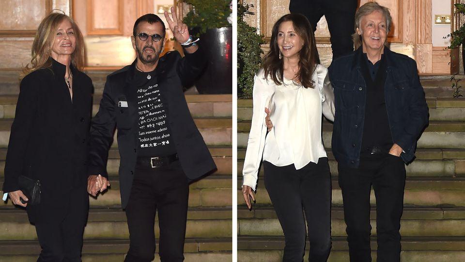 Ringo Starr und Paul McCartney mit ihren Frauen