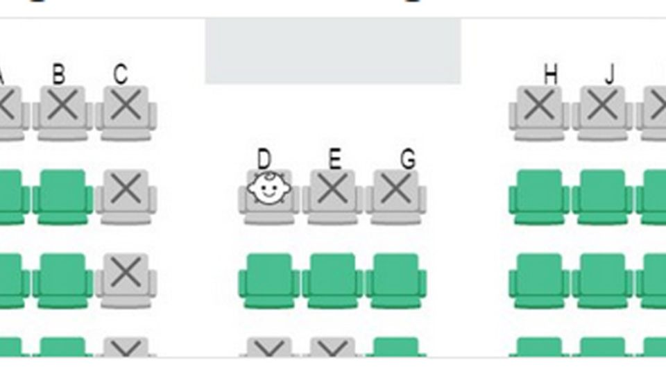 Sitzplatzreservierung online bei Japan Airlines: Auf dem E-Platz vor der Trennwand wird ein Kleinkind sitzen.