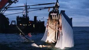 """Gilt als das schwerste Schiffsunglück der europäischen Nachkriegsgeschichte mit 852 Opfern: Nur die Bugklappe der """"Estonia"""" wurde aus der Tiefe geholt."""
