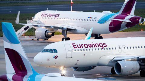 Airbus-Jets von Eurowings auf dem Vorfeld