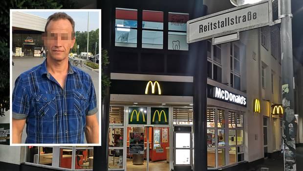 Blick auf ein Schnellrestaurant, in dessen Bereich ein Tatverdächtiger festgenommen wurde