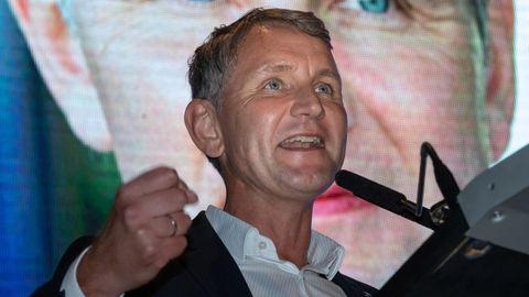 Björn Höcke, Spitzenkandidat und Landesvorsitzender der AfD Thüringen, spricht zum Wahlkampfauftakt der AfD Thüringen