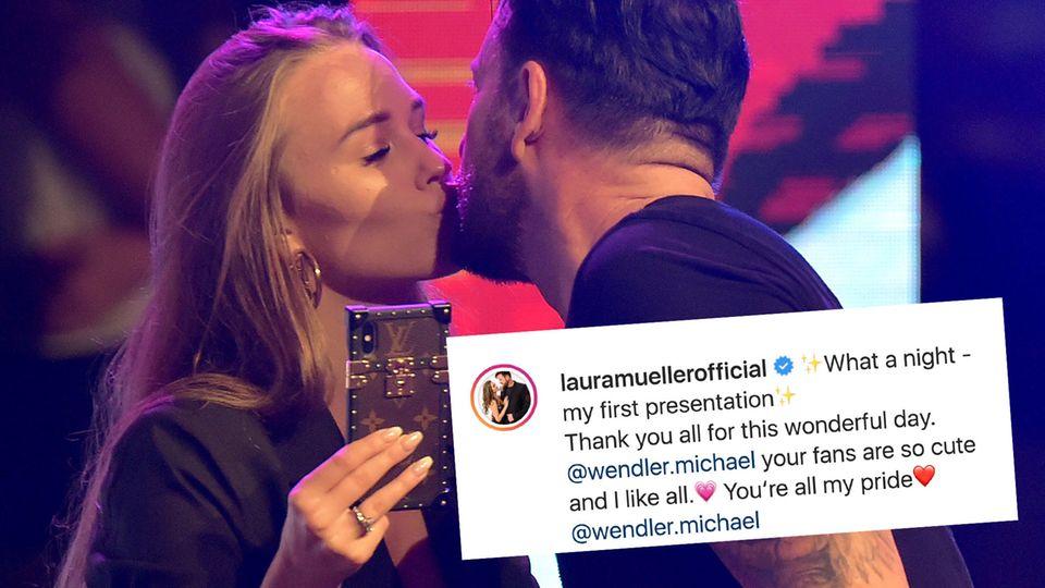 Laura Müller knutscht ihren Michael auf der Bühne