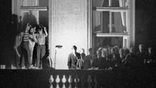 Hans-Dietrich Genscher auf dem Prager Botschaftsbalkon