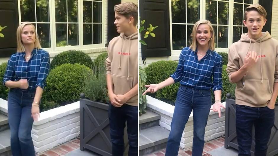 Prominente Mama: Reese Witherspoon zeigt ihrem Teenager-Sohn alberne Tanzbewegungen