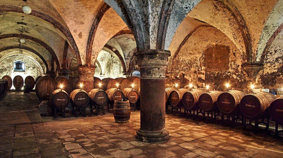 Filmkulisse: der historische, fast 900 Jahre alte Weinkeller im Kloster Eberbach