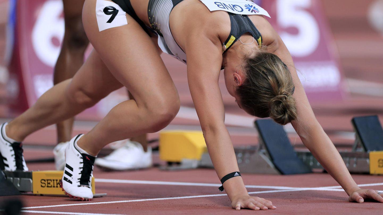 Gina Lückenkemper vor dem Start – und jetzt versuchen, nicht an die Kameras zu denken ...