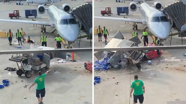 Getränkewagen gerät außer Kontrolle und prallt fast gegen ein Flugzeug am Flughafen in Chicago.