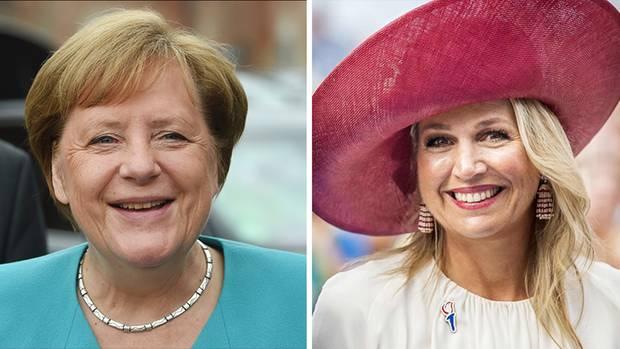 Trafen sich zufällig, verstanden sich mäßig: Bundeskanzlerin Angela Merkel (ohne Hut) und Königin Máxima