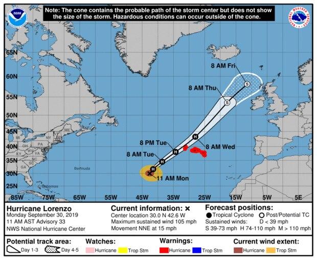 Grafik Weg von Hurrikan Lorenzo nach Norden