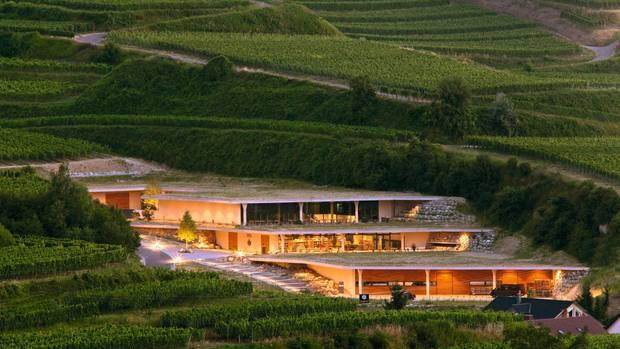 In den Hang gebautes Weingut