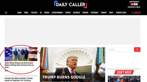 "Screenshot vom ""Daily Caller"""