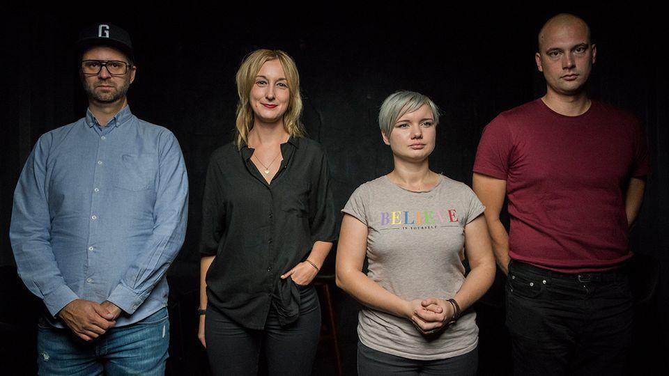 Christoph Giesa, Marieke Reimann, Fanziska Schreiber und Hendrik Bolz in der stern-DISKUTHEK