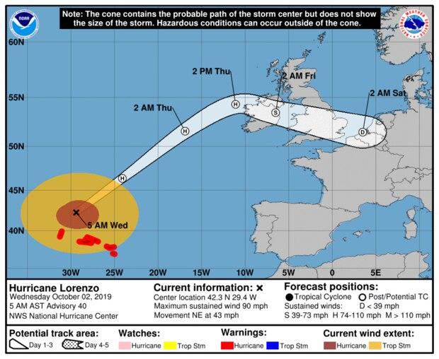 Route des Hurrikan Lorenzo Richtung Europa laut NOAA