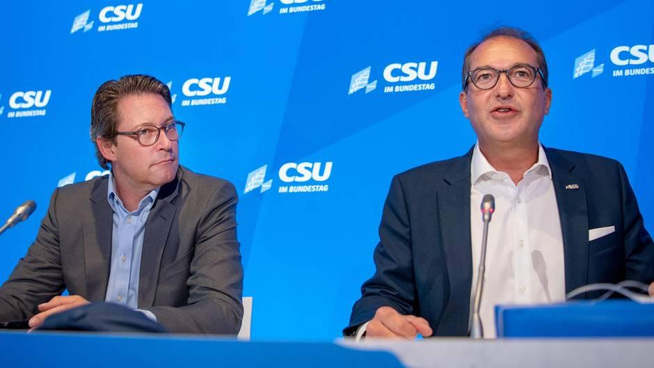 CSU-Landesgruppenchef Alexander Dobrindt (r.), hier mit Bundesverkehrsminister Andreas Scheuer