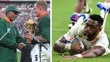Links: Die Übergabe des WM-Pokals durch Nelson Mandela an Südafrikas Kapitän Francois Pienaar ist längst ein ikonischer Moment der Sportgeschichte. Rechts: Siya Kolisi führtdie Springboks 2019 in Japan als erster schwarzer Kapitänauf Feld