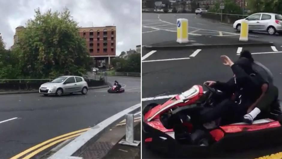 Polizei ermittelt: Teenager rasen mit Go-Kart durch Stadtzentrum – doch die Tat wird gefilmt
