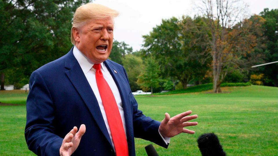 Donald Trump spricht im Garten des Weißen Hauses zu Reportern