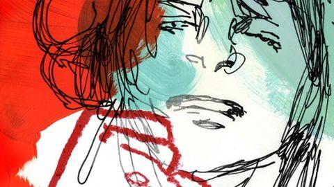 Illustration einer Frau. Eine Bildhälfte liegt unter einem roten Farbschleier