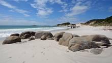 Laufen im feuchten Sand der Bay of Fires in Tasmanien