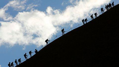 Kletterer am Stahlseil