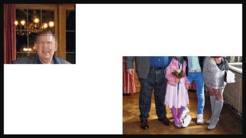 Familie Behring rechts unten. Das Bild ist von den Köpfen abwärts abgeschnitten. Oben links ist das Porträt des Vaters zu sehen