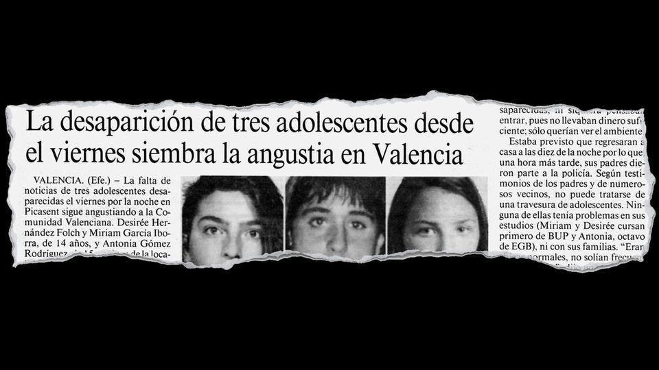 Zeitungsausriss der Meldung der toten Mädchen