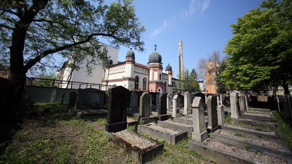 Blick auf die Synagoge und den jüdischen Friedhof in Halle
