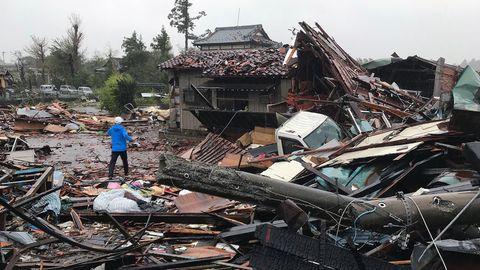 """InIchihara (Präfektur Chiba) hat """"Hagibis"""" bereits heftig gewütet und für schlimme Zerstörung gesorgt"""