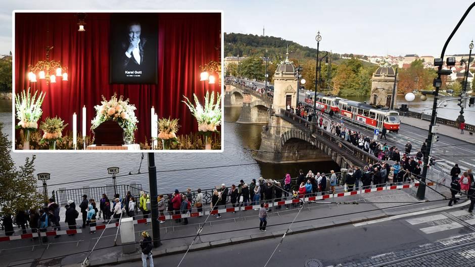 In Prag bildete sich eine kilometerlange Schlange vor dem Sophienpalais, wo der Sarg des Schlagerstars aufgebahrt war.