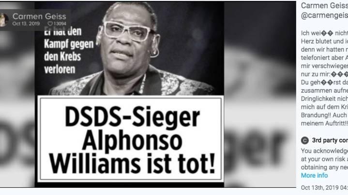 """DSDS-Sieger von 2017: """"Mein Herz blutet"""" – so trauern Prominente um Sänger Alphonso Williams"""
