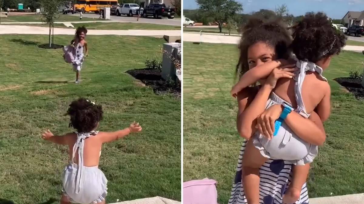 Virales Video: Einjährige wartet jeden Tag vor der Tür, um ihre Geschwister von der Schule zu empfangen