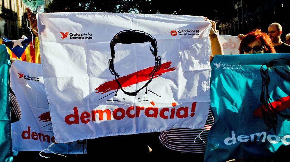 Auf einer Demonstration in Barcelona