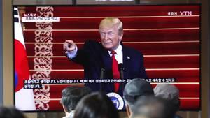 US-Präsident Donald Trump auf einem TV-Bildschirm