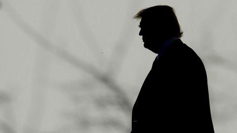 Die Silhouette von US-Präsident Donald Trump