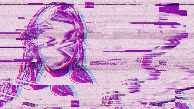 Illustration einer Frau ohne Gesicht. Farblich in lila gehalten.